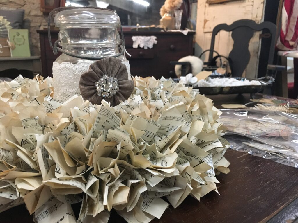 Wreath made from hymnal pages