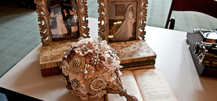 Brooch bouquet at wedding