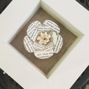 Book page flower in frame