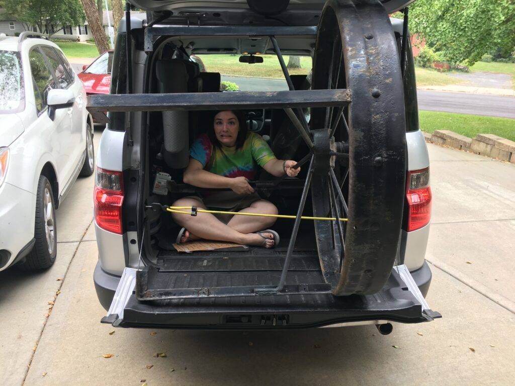 Hauling a wagon wheel table in the back of a honda element
