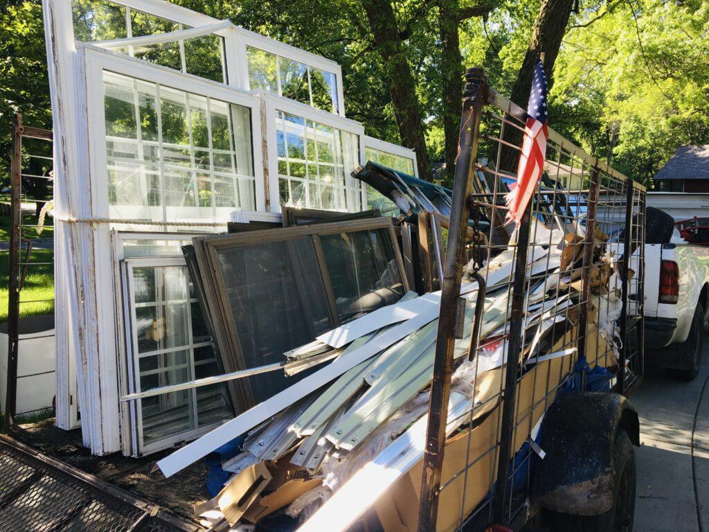Flatbed trailer full of windows
