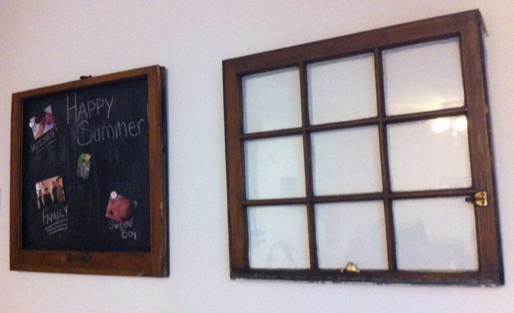 Upcycled chalkboard window and clear nine pane window