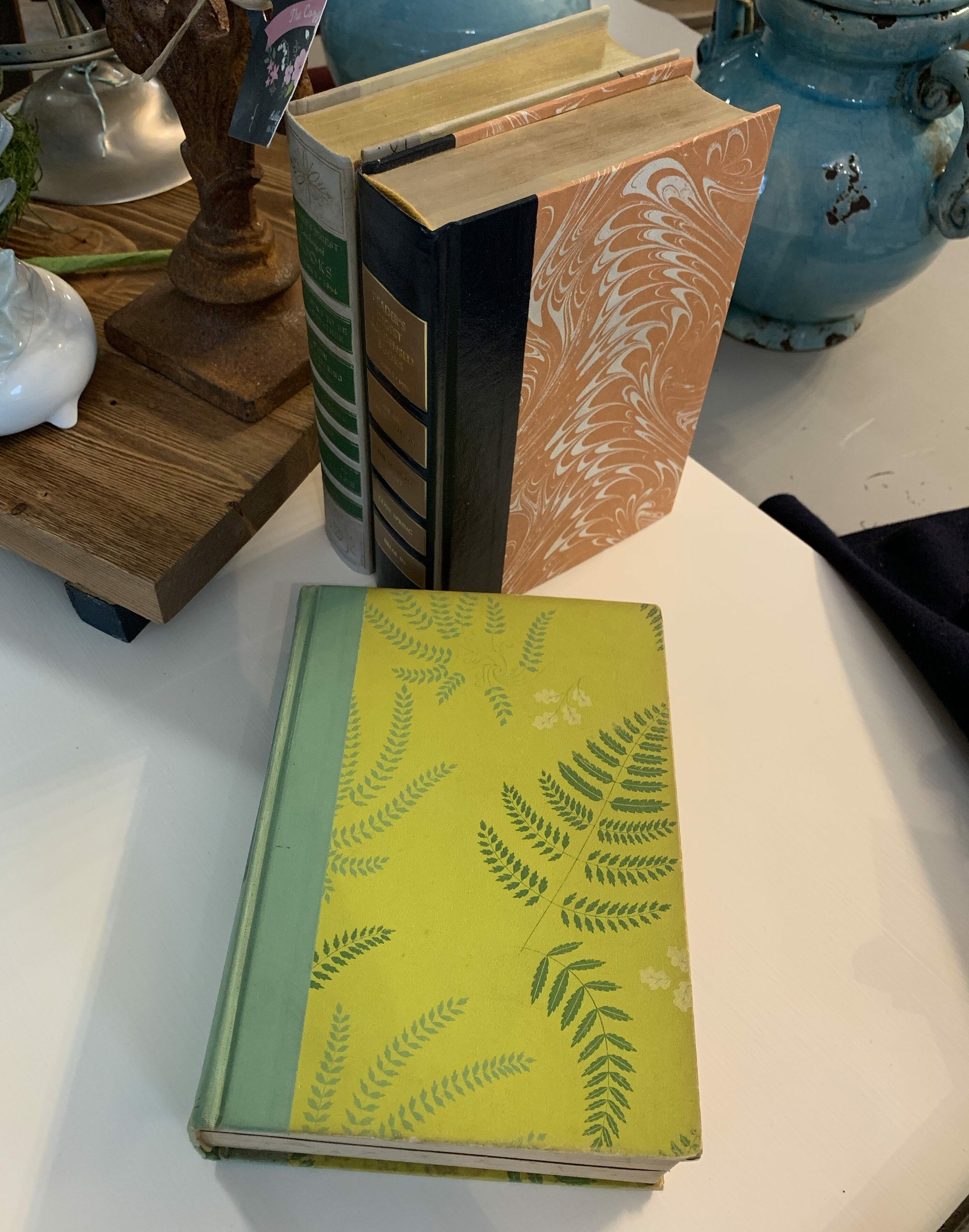 Yellow book with green ferns
