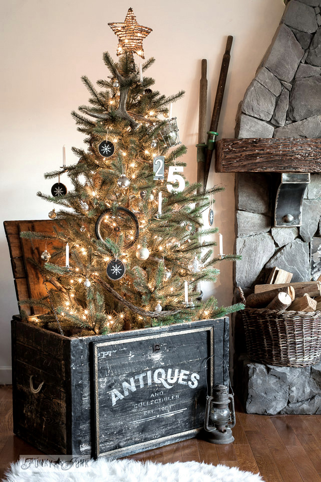 Christmas tree in wood crate