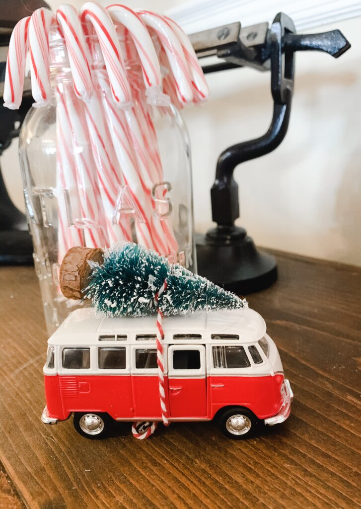 Vintage Volkswagen Bus with Christmas tree tied on top