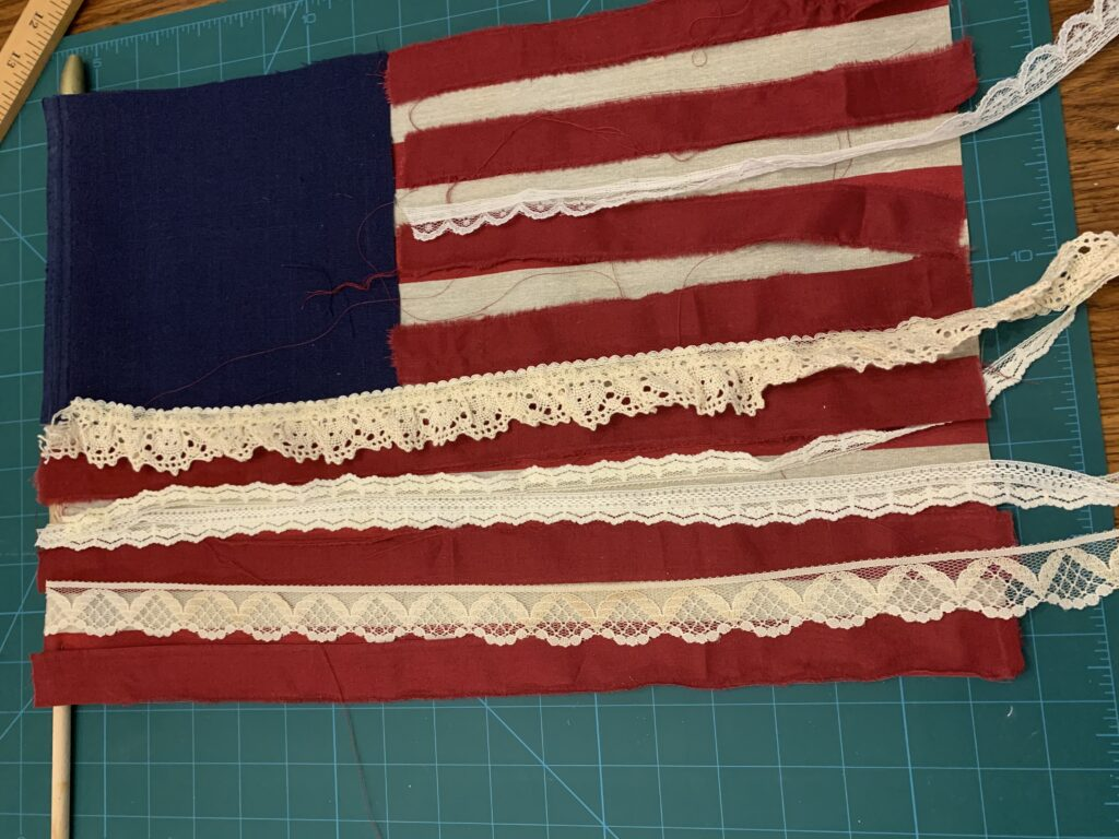 Scrap and lace flag layed out