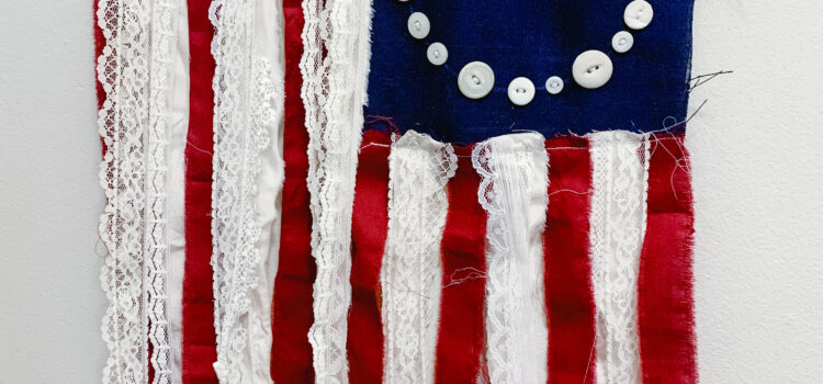 Lace, scrap and button flag