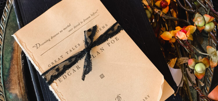Edgar Allan Poe book wrapped in black lace