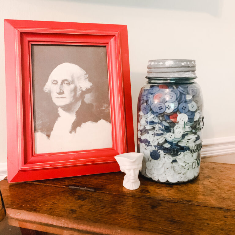 Americana decor George Washington and old buttons